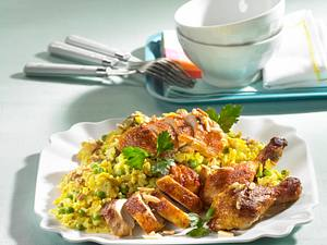 Curry-Reissalat mit Grill-Hähnchen Rezept