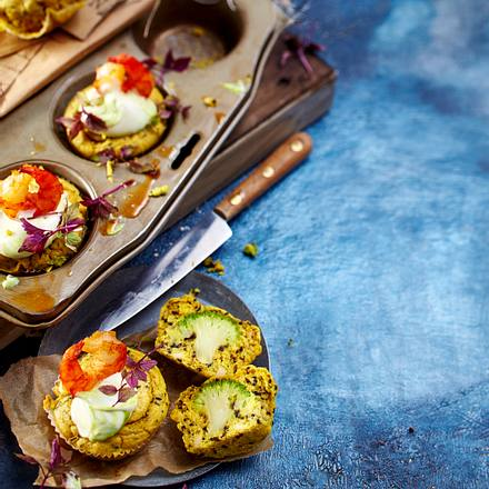 Curry-Sesam-Cupcakes mit Brokkoli Rezept