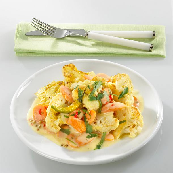 curryblumenkohl mit Koriander-Joghurtsoße Rezept