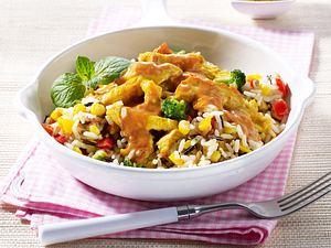 Currygeschnetzeltes auf Gemüsereis Rezept