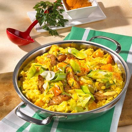 Curryreispfanne mit Kürbis Rezept