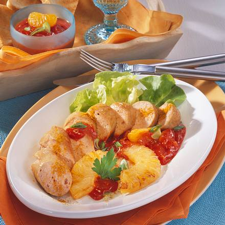 Currywurst, Ananas und Chutney Rezept