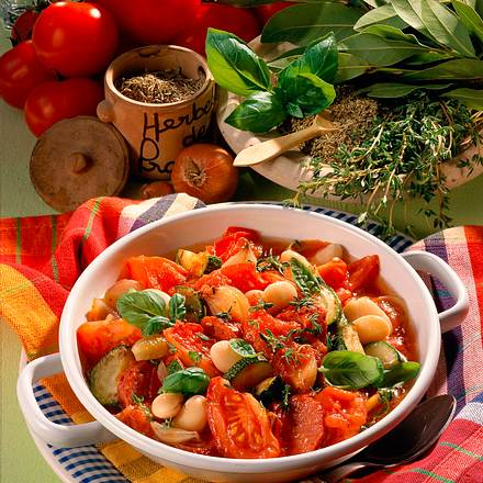 Deftige Tomaten-Bohnen-Pfanne Rezept