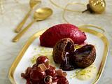 Dessert: Schokoladenkrapfen mit Kirschen und Pistaziensabayon Rezept