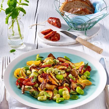 Dicke Bohnen-Pfanne mit Chorizo und Minze Rezept