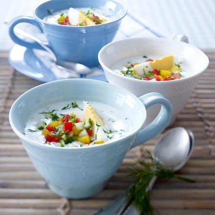 Dickmilch-Kaltschale mit Gurke und Ei Rezept
