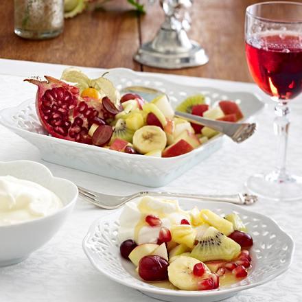 Dinner for One; 4. Gang: Fruit (Bunter Obstsalat mit Ingwersahne) Rezept