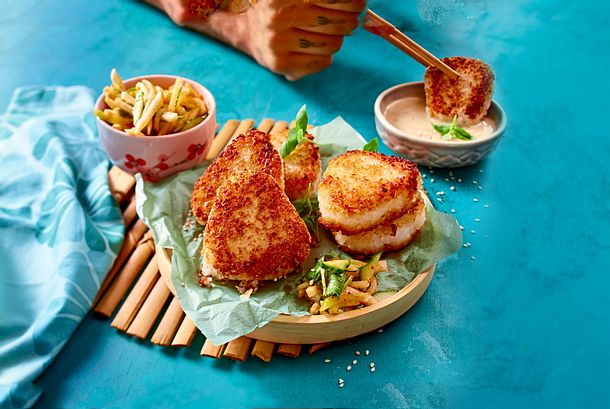 """""""Dipp Die""""- Reisplätzchen mit flottem Gurken-Kimchi Rezept"""