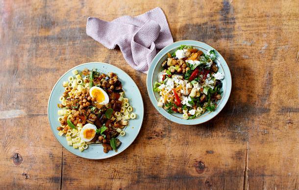 Ditalini mit Auberginen und Orientalischer Ditalini-Salat Rezept