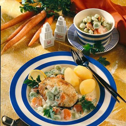 Dorsch-Kotelett mit dicken Bohnen Rezept