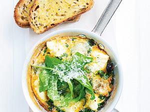 Drei-Käse-Frittata mit Spinat Rezept