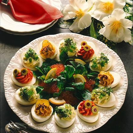 Dreierlei gefüllte Eier Rezept