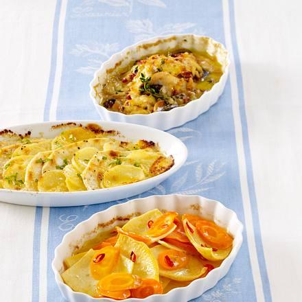 Dreierlei Gratins Kartoffel-Sellerie Rezept