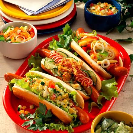 Dreierlei Hot Dogs Rezept