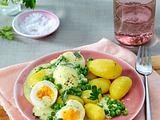Eier in Senfsoße mit Erbsen Rezept