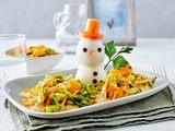 Eier-Schneemann im Salatbett Rezept