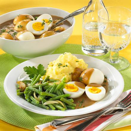 Eier süss-sauer mit Püree Rezept