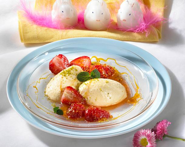 Eierlikör-Mousse mit karamellisierten Erdbeeren Rezept