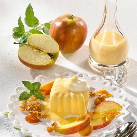 Eierlikör-Pudding mit karamellisierten Äpfeln und Walnüssen Rezept