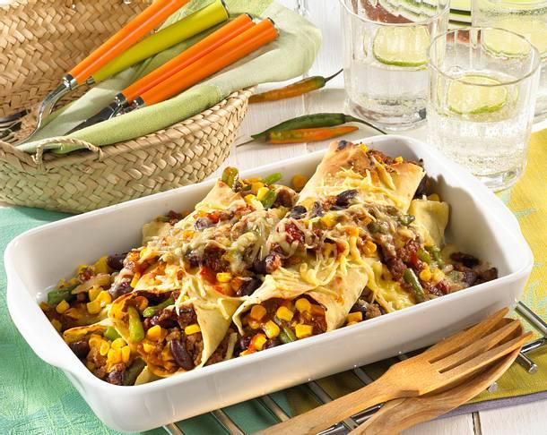 Enchiladas gef llt mit hackfleisch und bohnen rezept for Kochen mit hackfleisch