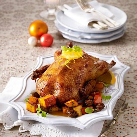 Ente à l´Orange mit Kürbis und Maronen Rezept