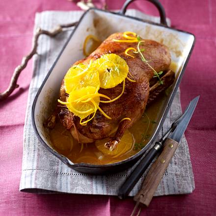 Ente mit Pilzfüllung & Orangen-Thymian-Soße Rezept