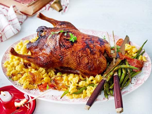 Ente mit Speckbohnen und Knöpfle Rezept