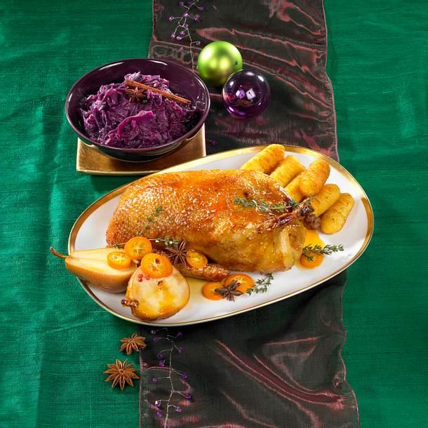 Ente zu Glühwein-Rotkohl und Kroketten Rezept