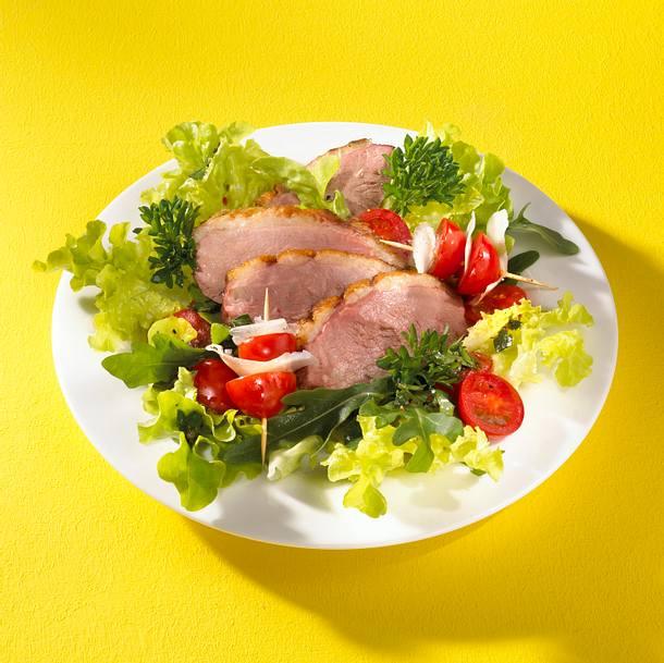 Entenbrust auf Rauke-Tomatensalat Rezept