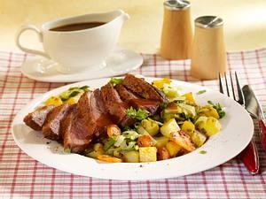 Entenbrust auf Steckrüben-Möhren-Kartoffelgemüse Rezept