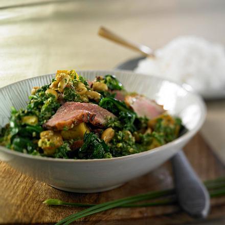 Entenbrust in grünem Curry mit Spinat Rezept