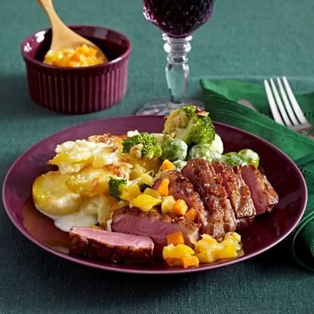 Entenbrust mit Gratin und Gemüse Rezept