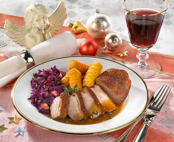 Entenbrust mit Rotkohl und Kroketten Rezept