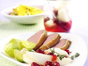 Entenbrustfilet mit Birnen-Kompott und Kürbispüree Rezept