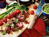 Entrecote mit Bluecheese-Dip und Koriander-Chimichurri Rezept