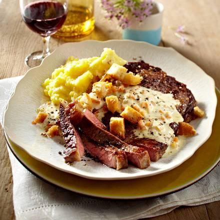 Entrecote mit Senfrahm und Kartoffelpüree Rezept