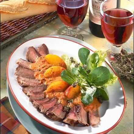 Entrecôte mit Tomaten-Pfirsich-Soße Rezept