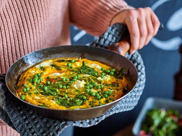 Entspannte Frittata mit Spinat und Erbsen Rezept