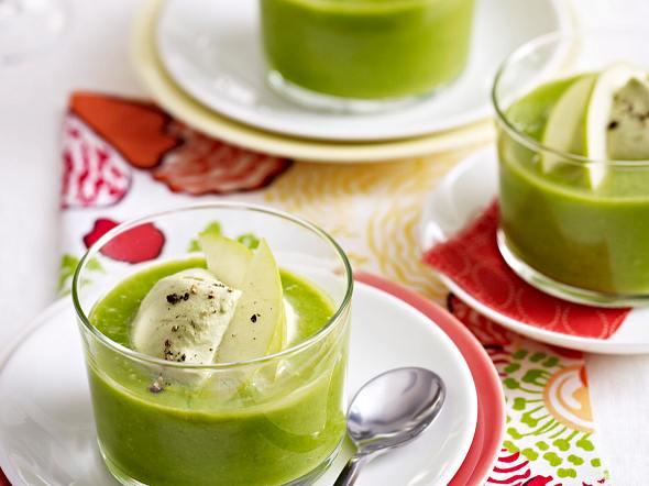 Erbsen-Cremesuppe mit Matcha-Tee und Ingwer Rezept