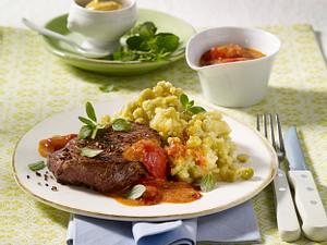 Erbsen-Karoffel-Püree mit Huftsteak Rezept
