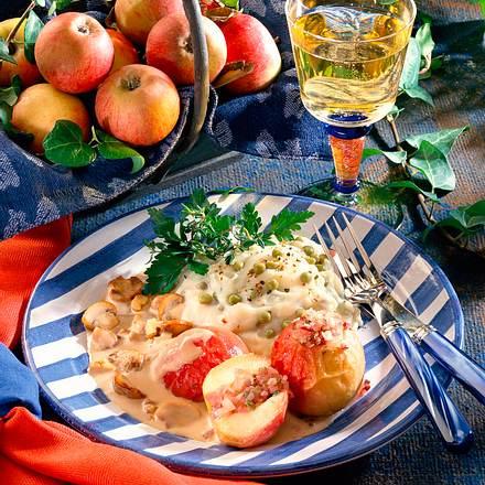 Erbsen-Kartoffelpüree mit Bratäpfeln und Champignons Rezept