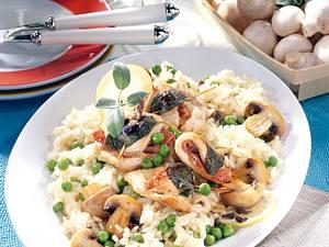 Erbsen-Pilz-Risotto zu Puten-Saltimbocca Rezept