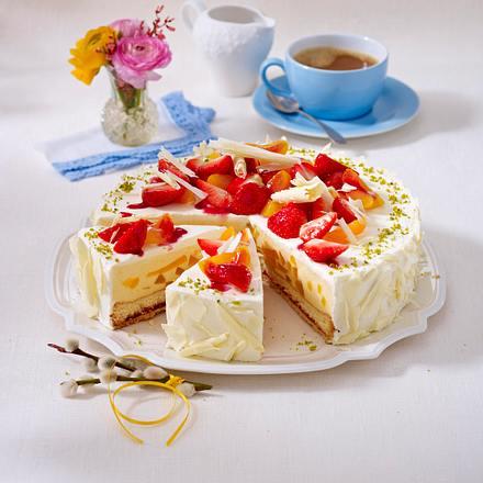 Erdbeer-Aprikosen-Torte mit weißer Schokolade Rezept