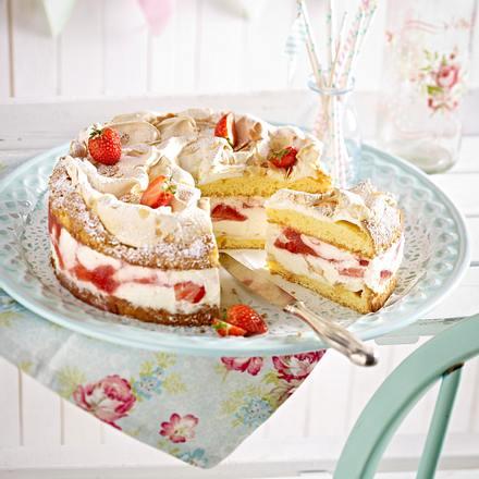 Erdbeer Baiser Kuchen Rezept Lecker