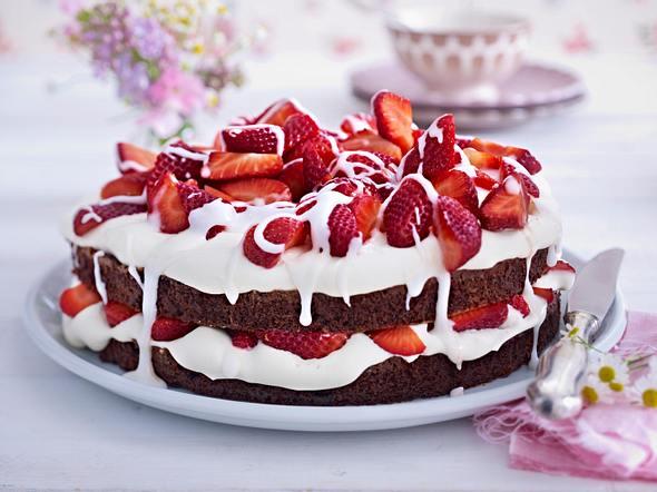 Erdbeer-Brownie-Torte Rezept
