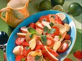 Erdbeer-Pfirsich-Teller mit Vanillesahne Rezept