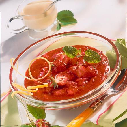 Erdbeer-Rhabarber-Grütze Rezept