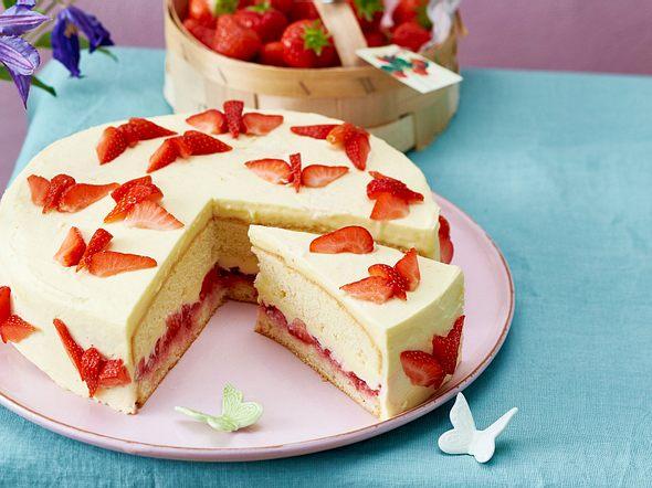 Erdbeer-Schmetterlingstorte Rezept