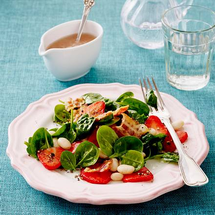 Erdbeer-Spinat-Salat mit Speck Rezept