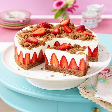 Erdbeer Torte Mit Schokoboden Und Quarkcreme Rezept Lecker